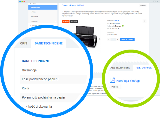 Platforma B2B - atrybuty dotowarów orazpliki PDF